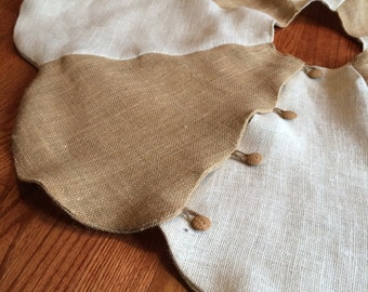 """48"""" Natural and Off-White Burlap Scalloped Christmas Tree Skirt--Rustic/Country/Folk/Shabby Chic"""