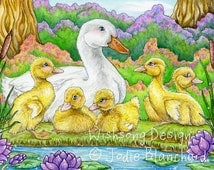 "Duck painting, yellow ducklings art print, duck family, watercolour, whimsical animal painting, bird art, ""Duck Daydreams"" fine art print"