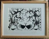 FRAMED PICTURE ART High Summer is original pine wood framed silhouette ink black and white illustration of birds, and flowers with trees.