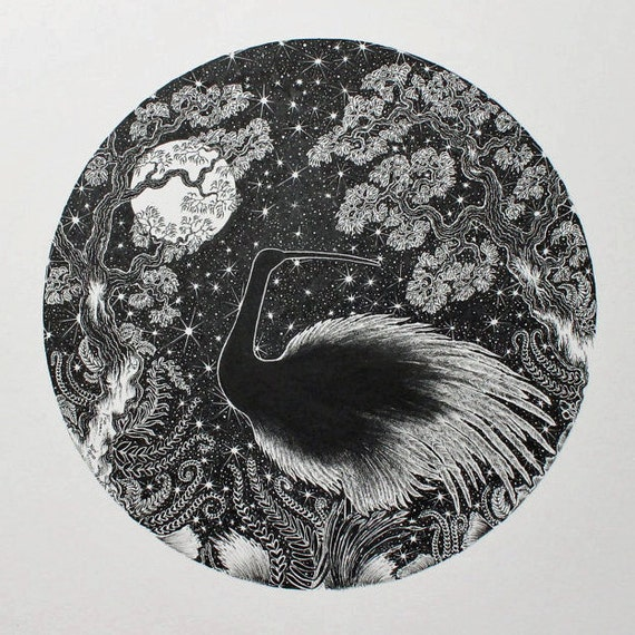 Starbird is an original pen and ink black and white illustration of a crane like bird at night with the moon, trees and various plants.