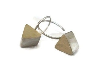 18K Gold Triangle Earring Drops,  Small Geometric Dangle Earrings, Gold and Silver Drops,  Aritisan Handmade by Sheri Beryl Stud Earrings