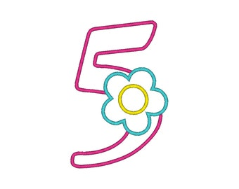Flower Number Five Birthday Machine Embroidery Digital Applique Design
