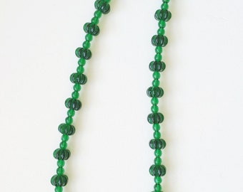 Art Deco Czech Glass Melon Beads, Czech Necklace, Vintage Bead, Emerald Green Vintage Necklace