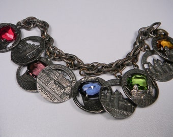 French Charm Bracelet, Multi-Colored Bold Statement, Oversize Charms, Just Reduced