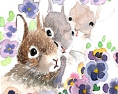 ACEO Limited Edition 4/25- Rabbit and pansies, Art print of an original watercolor painting, Gift idea for animal lovers, Rabbit painting