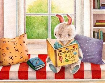 Bunny Reading, Art Print, Whimsical Art, Watercolour Print, Nursery Decor, Kid's Room Art, Wall Art, Bunny Art, Baby Gift, Cute Art Print