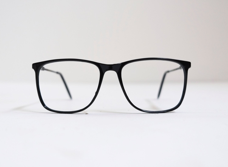 Unique Metal Eyeglass Frames : 1970s Minimalist Modern Black Metal Oversize Wayfarer ...