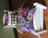 "Purple / Orchid Flower Bedding Set for 18"" doll"