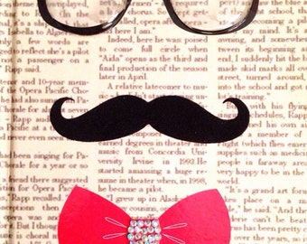 Glasses mustache and bow tie journal