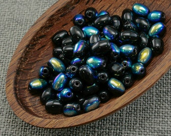 Black Czech Rice, Oval Beads, 7mm (50pc) Opaque AB Glass
