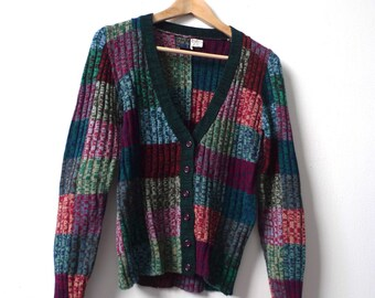 vintage CARDIGAN SWEATER mid 90s color block forest green small sweater