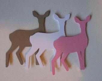 10 Deer die cuts, large paper Does, Deer embellishments, Deer gift tags, Elk die cuts