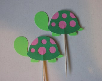12 turtle toppers, cupcake toppers-turtle appetizer picks, Pink and Green turtle toppers