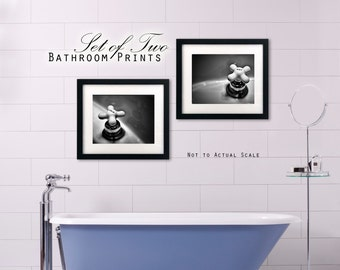 Bathroom Prints Set of Two Hot Cold Faucets Photography Black and White or Sepia