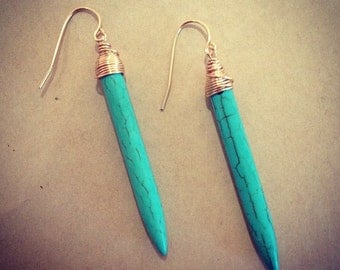 Turquoise Spike Earrings