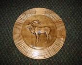 Elk 3 track round cribbage board with storage