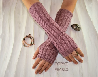 Taupe Mauve Dark Pink  Arm hand Warmers knitted Fashion Accessories Fingerless Gloves Women's Hand Warmer Accessory  By TOPAZ PEARLS