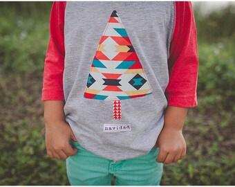 "Swanky Shank Boys ""Navidad"" Christmas Baseball Tee; aztec shirt, kids christmas shirt"