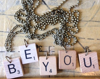 "Scrabble Tile Necklace With 24"" Bronze Chain"