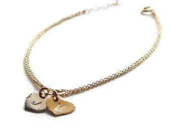 Gold Heart Bracelet - Personalized Sweetheart Bracelet - Personalized ID Bracelet - Bridal Shower Gift - Wedding