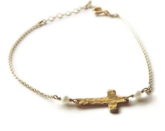 Gold or Silver Pearl Cross Bracelet - Religious Bracelet - Communion Bracelet - Sideways Cross Bracelet