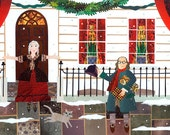 Benjamin Franklin Christmas Card - Craven Street - Holiday Card - Merry Christmas - Traditional Snow Scene - Writers' Houses - Naive Art