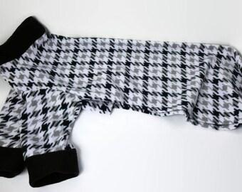 Greyhound Fleece Pajamas - 2 legged PJs for average sized greyhounds - Houndstooth Black, Gray & White
