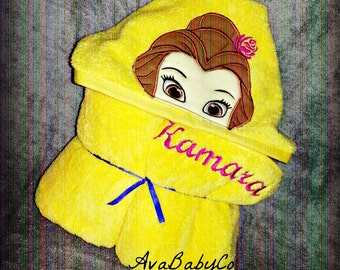 Embroidered Beauty Belle Inspired Hooded Towel Personalized