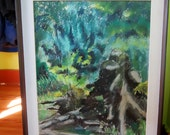 Painting by Listed Artist Flora Correa Benaroya Titled Old Stump Oil Pastel on Board Signed Framed Vintage Painting Forrest Green Blue Golds