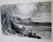 Antique Print Joseph Mallord William Turner Clovelly Bay England W Miller Sculpture Antique Art Print Original Antique Print Black White