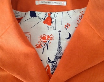 Views Of Paris Through Tangerine Glasses - 1950s vintage Inspired Jacket - Tangerine - Silk - Spring - Summer - Available To Post Now