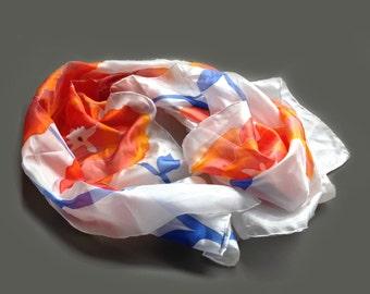 Floral summer silk scarf, hand painted scarf, Orange flowers blue leaves
