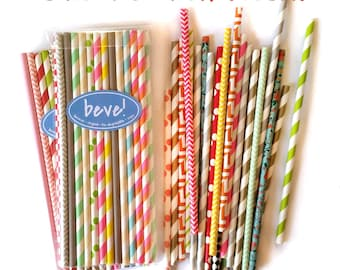 Crazy Pack! 25 Mixed Paper Straws, Grab Bag