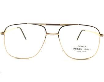 Mens Eyeglasses, Boxy Gold Metal Aviator Eyewear, Vintage 80s, Gold and Black (or Gray) Fixed Bridge Frames, Never Worn