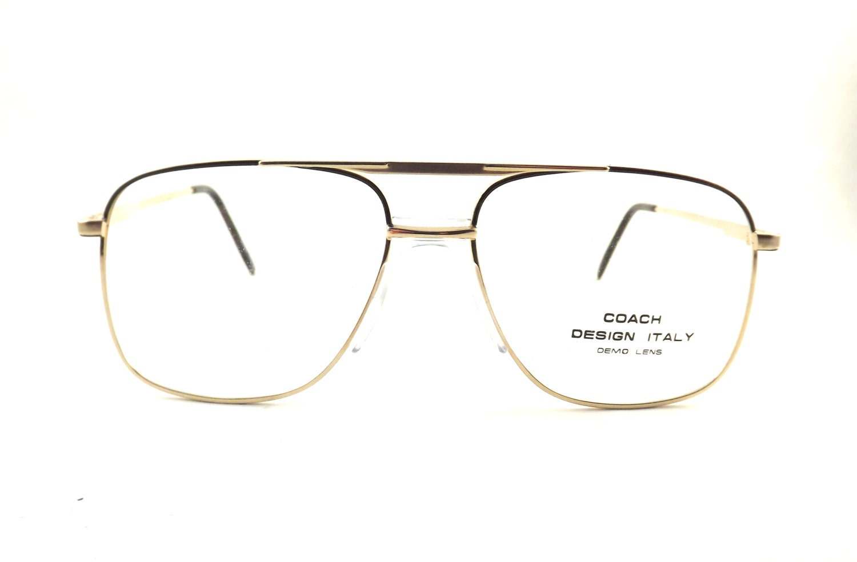 Mens Eyeglasses Boxy Gold Metal Aviator Eyewear Vintage 80s