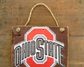 Ohio State Reclaimed Wood Sign Vintage Ohio State Sign Reclaimed Wood Sign College Emblem Sign