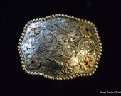 IN STOCK Hand Engraved  Trophy Buckle with Red Stones Set in Gold Flowers