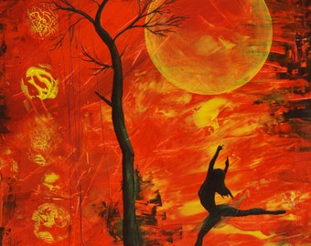 8x10 Art Print-The Fire Inside-Dancer and Tree on Orange-Dancer Art-Tree Art-Tree Painting