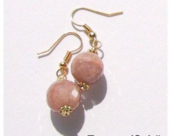 Earrings, earrings, Moonstone, genuine Moonstone, brass, beige