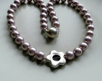 Pearl necklace, beads, shell pearls, flower, necklace, jewelry, antique rose