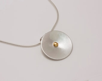 Sterling Silver Cosmos Pendant with 14k Gold Nugget on Snake Chain
