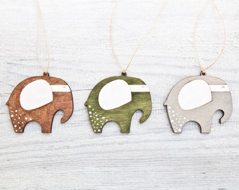 Elephant Christmas ornament Xmas decor Holiday ornaments Wooden Elephants Brown Green Gray Home Decor Set of 3.