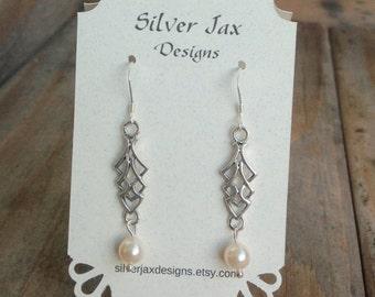 Sterling Silver Celtic Pearl Earrings, Dangle Earrings, Pearl Earrings, Gift for Her