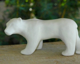 Porcelain Polar Bear sculpture handmade