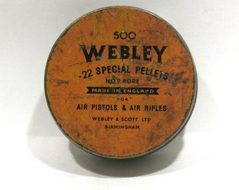 Webley Pellets Tin - 500 Special Air Pellets -Round Orange Tin - Militaria- Air Guns Pistols Rifles -Webley Scott Ltd Birmingham England