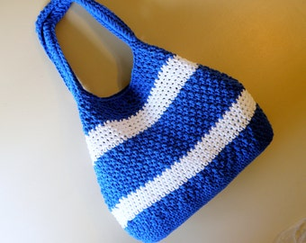 Large Cotton Nautical Totes, Deluxe Travel Bags, Large Crocheted Market Totes, Blue and White Beach Bag, Carry Bags, Handmade purse.