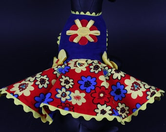 SAMPLE SALE:  Red, Yellow & Royal Blue Floral Corduroy Dog Dress