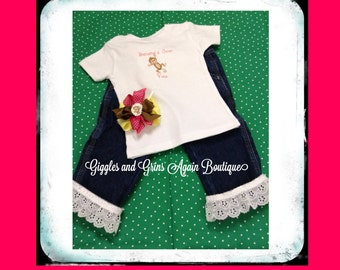 Bananas Over You - Little Monkey Tee with Ruffled Jeans with Matching OTT Hair Bow - 12 months to 4T