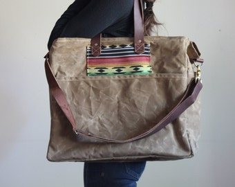 Waxed Canvas Diaper Bag Wheat Tan