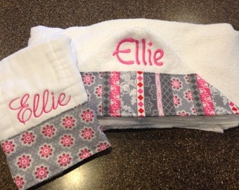 Personalized Hooded Towel & burp cloth